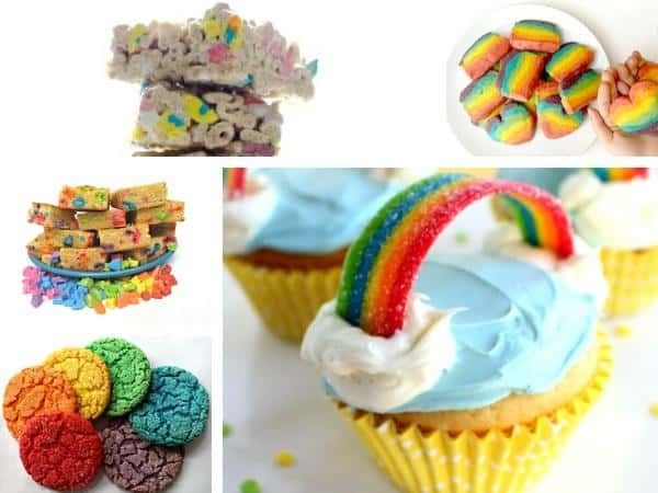 rainbow cakes and cookies