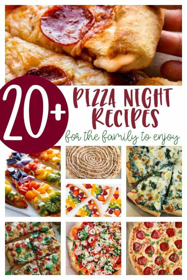 collage of pizza night recipes for the family to enjoy