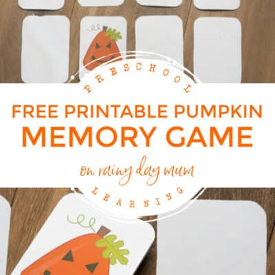 Pumpkin Shape Memory Game for Toddlers and Preschoolers