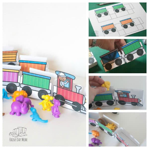 Create your own train and use it with counters to play this Freight Train by Donald Crews Inspired Counting Game ideal for toddlers and preschoolers.