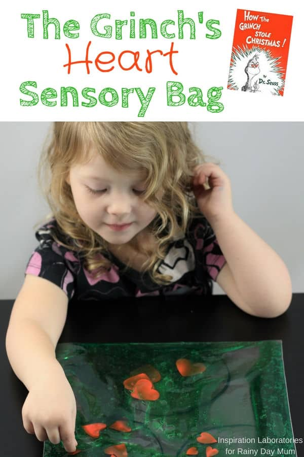 Create your own simple sensory bag for toddlers and preschoolers inspired by How the Grinch Stole Christmas and use it for a shape sorting activity or more.