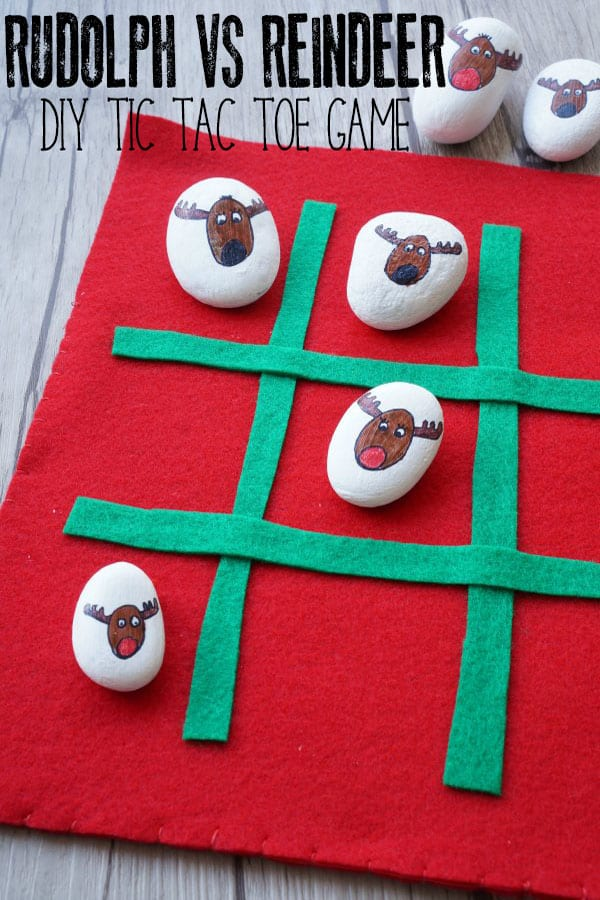 Make and play your own Christmas Reindeer Game with this DIY Tic Tac Toe Game for Rudolph the Red-Nosed Reindeer vs the Reindeers.
