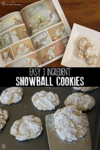 Inspired by the classic Christmas picture book The Snowman by Raymond Briggs bake these ever so simple Snowball Cookies made with just 3-ingredients.