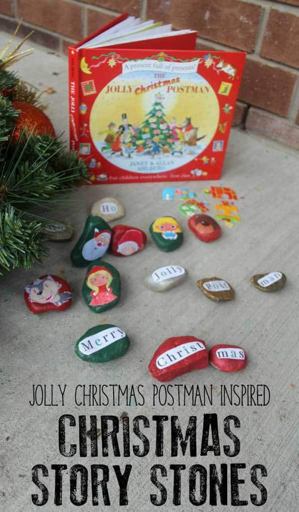 DIY Story Stones for Early Literacy inspired by the classic Christmas picture book The Jolly Christmas Postman by Allan and Janet Ahlberg.