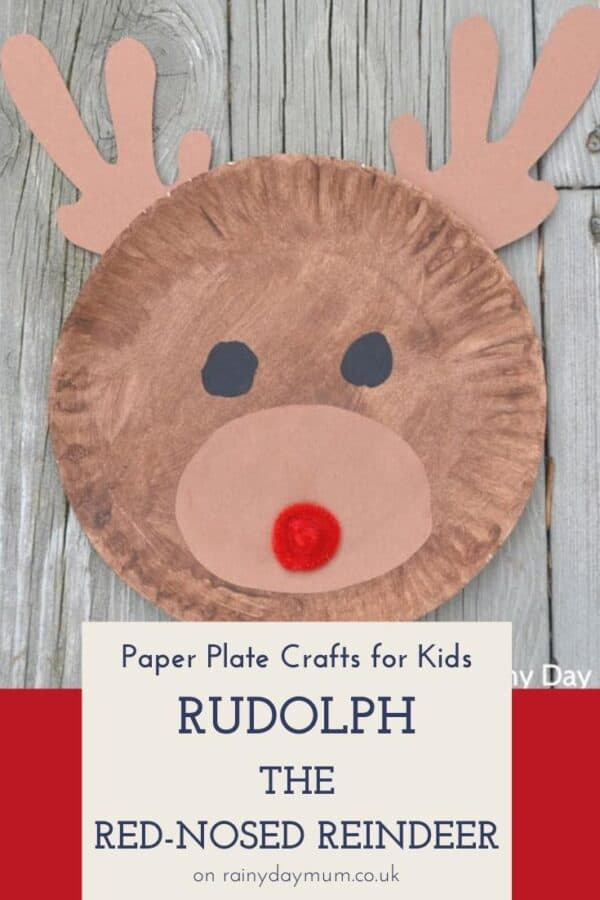 Paper plate kids craft a rudolph the red nosed reindeer
