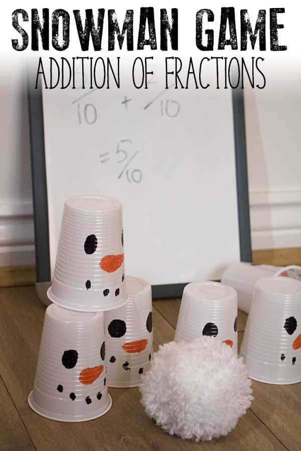 Simple game to set up and work on addition of fractions with a common denominator ideal for some hands-on fraction practice for single and multiple players.