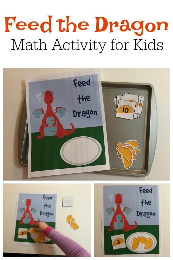Simple number game for toddlers and preschoolers inspired by the fantastic children's storybook Dragons Love Tacos. Working on 1 to 1 correspondence feed the dragon the correct number of Tacos. Includes free printable.