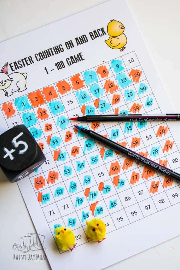 Easter-themed printable hundred chart game for practising addition and subtraction with 1, 2's and 5's. Download and print the chart and use our reusable die instructions to create a simple multi-player maths game to race to 100.