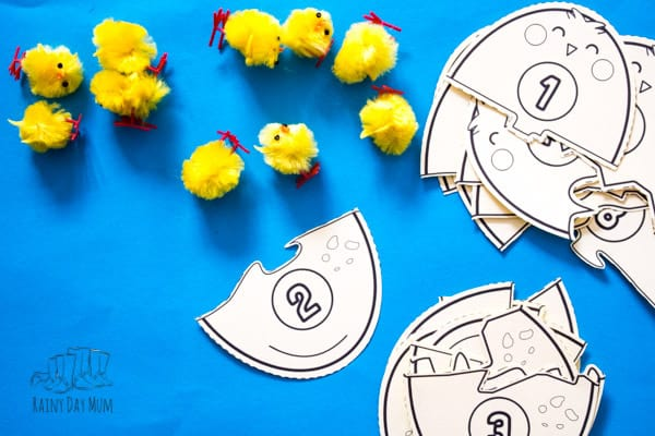using easter chicks to support learning of number bonds with free printable puzzles