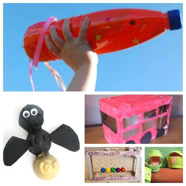 Simple, easy and fun crafts for kids from toddler through to teens made with recycled materials and junk that you would normally throw out. Perfect Rainy Day Crafting and Activities for kids. From Egg Cartons to Shoe Boxes to cardboard Tubes and Sweaters there are plenty of materials you can use to get creative with.