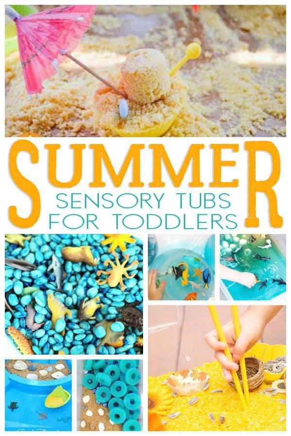 Summer sensory tubs collage with sand and sea creatures