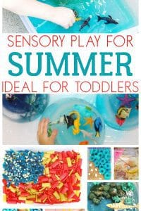 Classic summer themed sensory boxes and beach themed play for toddlers