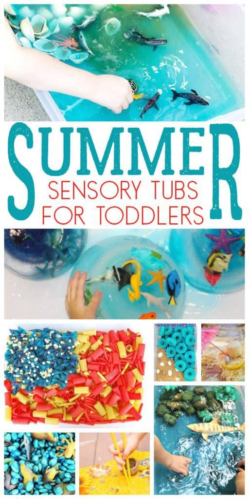 collage of simple sensory tubs and bins for summer fun with kids text reads 10+__ Sensory bins for toddlers this summer