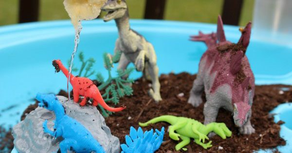 Set up this Dinosaur Farm inspired small world play for toddlers and preschoolers in the water table and watch them explore, engage, play and learn.