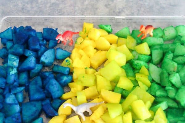 simple to set up dinosaur sensory tub for taste safe play for toddlers