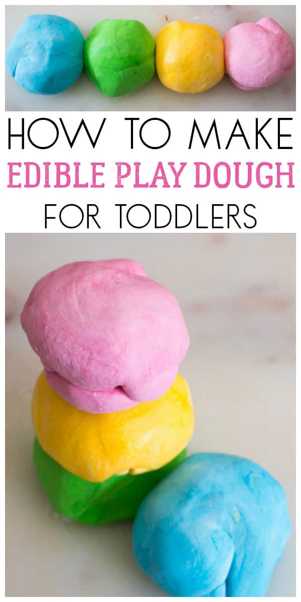 How to make edible play dough with 2 simple ingredients ideal for sensory play with toddlers who put everything in their mouths