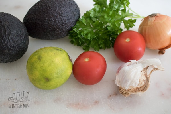 A simple recipe for guacamole that is so easy that kids and you can cook together.