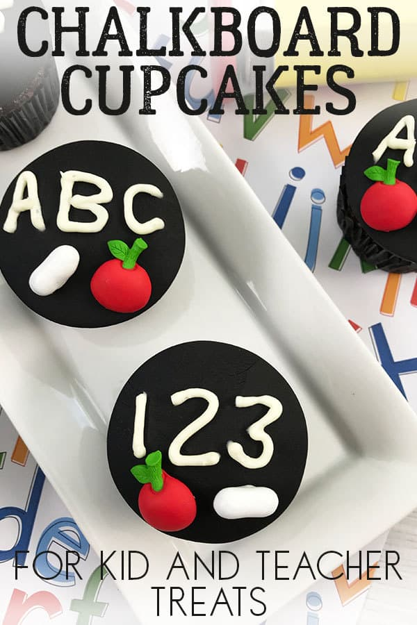 Simple and easy chalkboard cupcakes for classroom gifts for teachers either end of school year, teacher appreciation or back to school