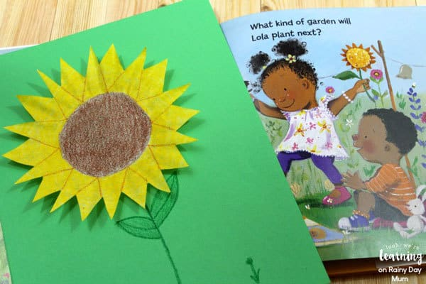 Coffee filter sunflower craft for toddlers and preschoolers