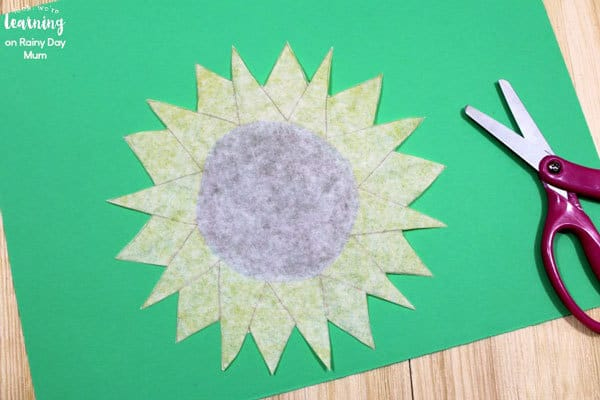 making coffee filter crafts with kids sunflower project