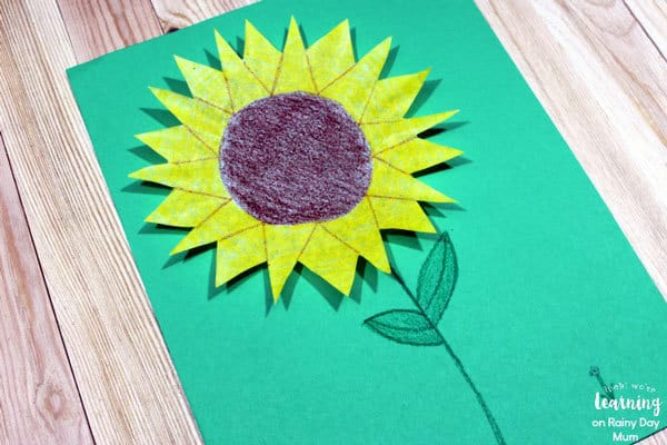 easy coffee filter sunflower to make with kids