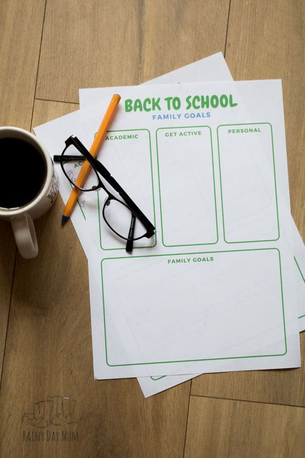 set goals for the family for back to school with the free printable and inspiration and ideas