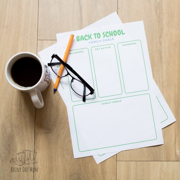 set family goals for the new school year and work towards them with your kids