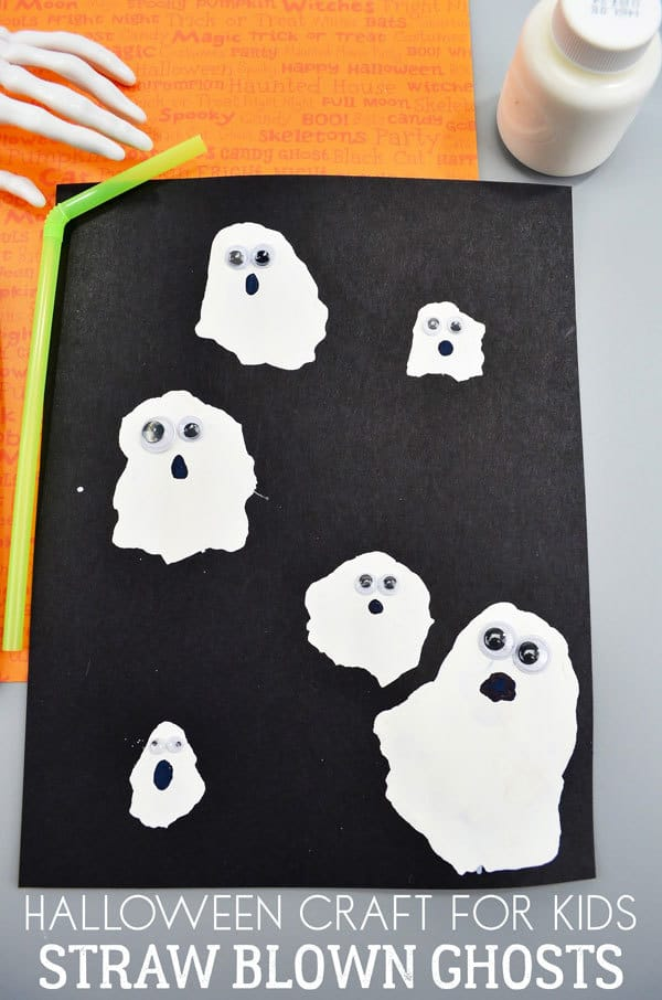 Halloween craft for kids to make straw blown ghosts. Make and then cut to create decorations to hang up