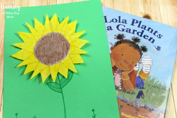lola plants a garden inspired craft for kids to make sunflowers from coffee filters