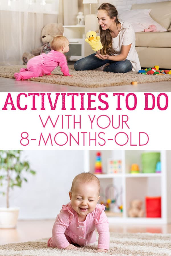 Fun Activities to do with your 8-month-old baby. Ideas for games and play that you can do together.