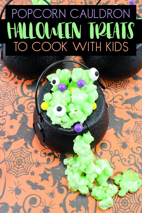 Easy recipe for simple Halloween treats of popcorn potion in a cauldron that kids can cook.