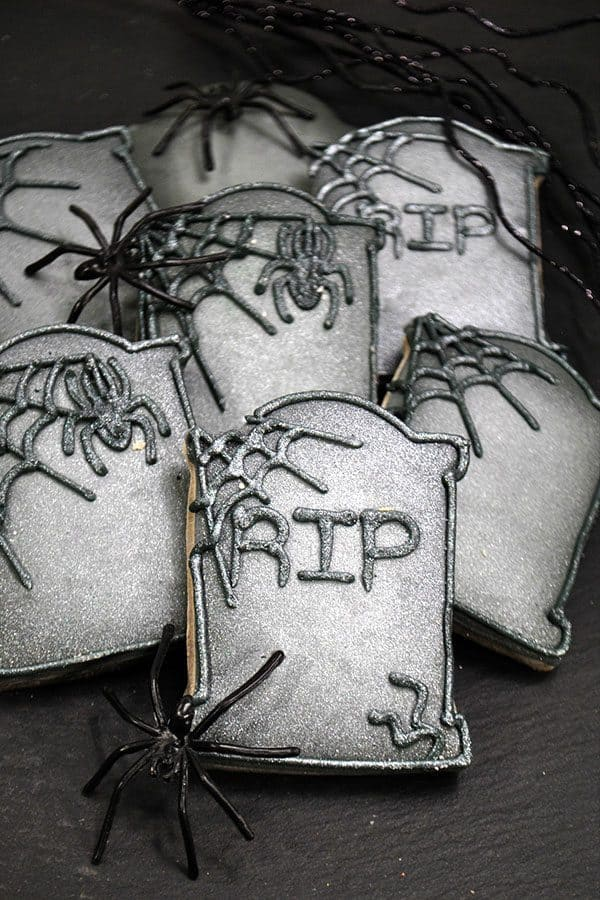 Easy to decorate step by step guide to make these fantastic Tombstone Sugar Cookies for Halloween. Includes a Recipe for Sugar Cookies that won't spread whilst they bake.