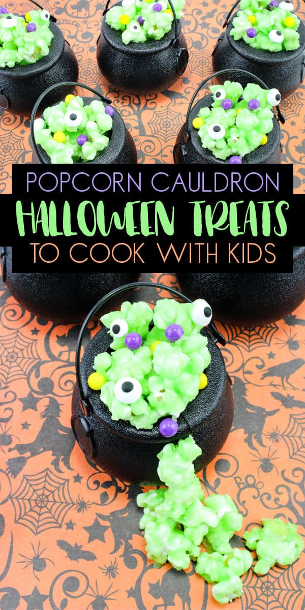 Popcorn Halloween Treats of Bubbling Cauldron Potions ideal for Cooking with Kids or for Kids Parties.
