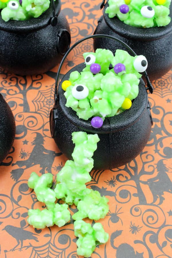 Popcorn Potions in mini Cauldron a fun food for Halloween that Kids can Cook