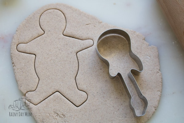 Handmade Salt dough Decorations in the shape of Gingerbread Men using Gingerbread Cookie Cutters to Create
