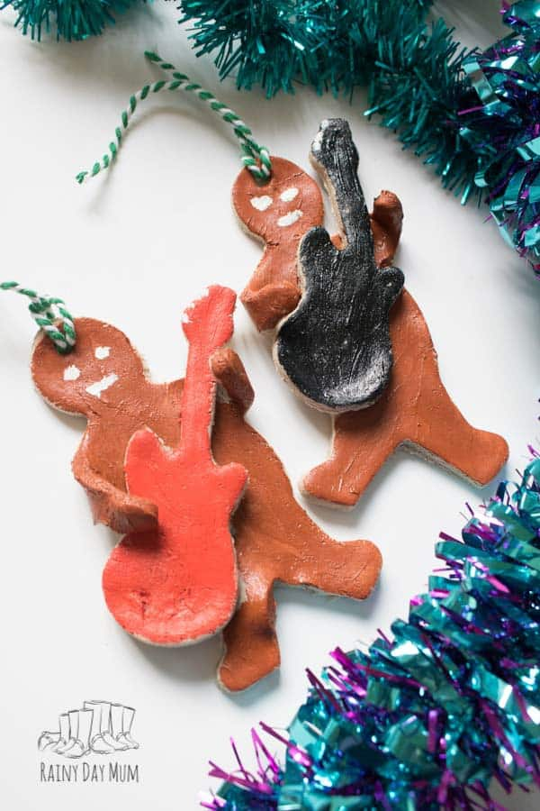 Salt Dough Ginegebread Men Decorations with Guitars a fun Christmas Decoration that Kids Can Make this Christmas
