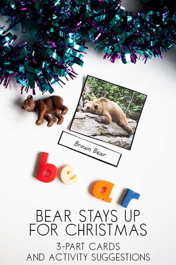 Bear Stays up for Christmas Montessori Inspired 3 Part Cards and some simple activity suggestions to use them with your preschoolers