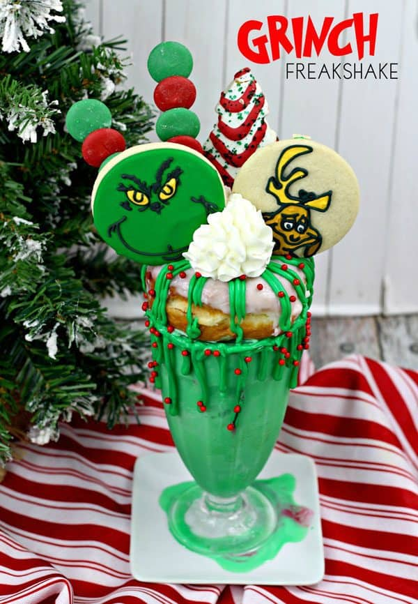 Recipe for a delicious and decadent Grinch Themed Freakshake to make at home for your Kids Party