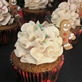 Gingerbread Men Cupcakes with Cinnamon Buttercream Icing
