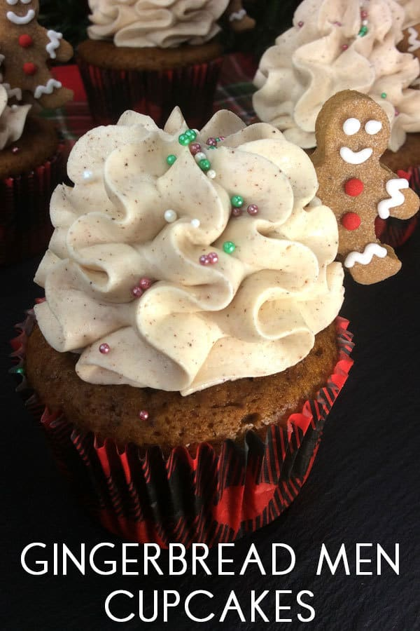Gingerbread Men Cupcakes with a Cinnamon Buttercream Frosting perfect Christmas Party Cakes for Kids and adults alike