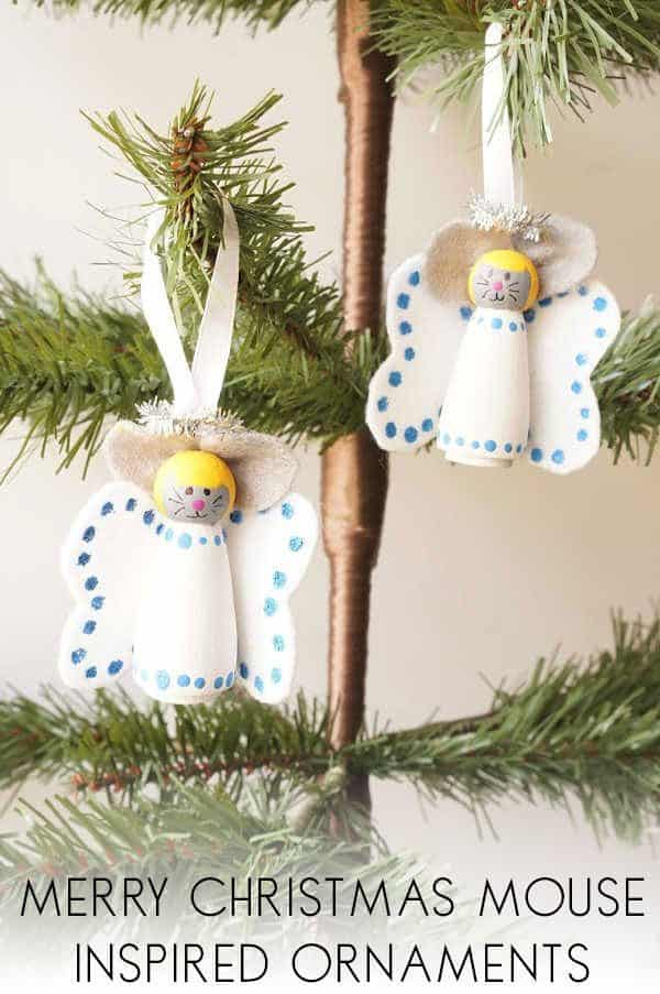 Merry Christmas Mouse Inspired Peg Doll Angels to make with Kids