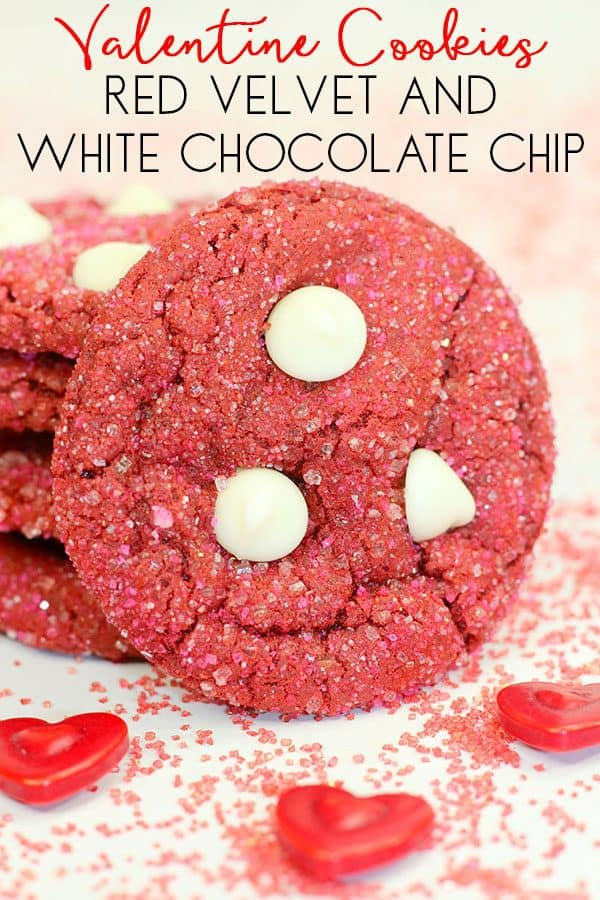 Valentines red velvet and white chocolate chip cookies