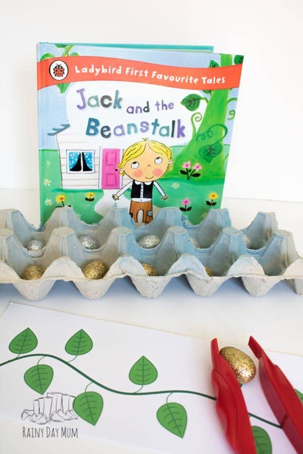Jack and the beanstalk number line and ten frame activity set up for preschoolers and kinder to use