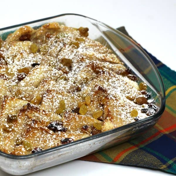 delicious simple weekend dessert for families of a traditional bread and butter pudding