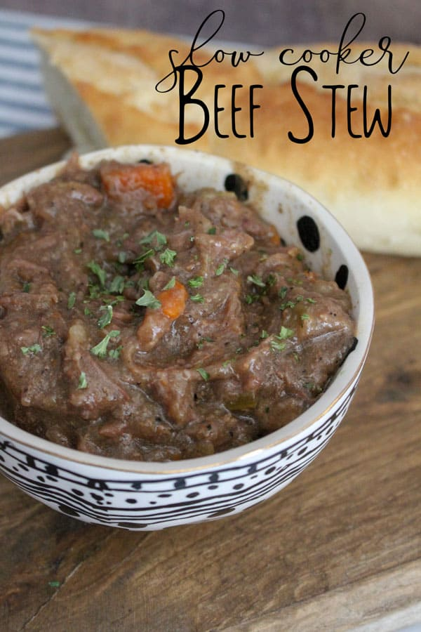 Delicious and hearty beef stew recipe cooked in the slow cooker. Perfect rainy day comfort food for families