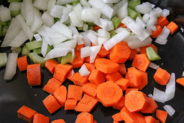 Vegetables chopped in the slow cooker for making stews