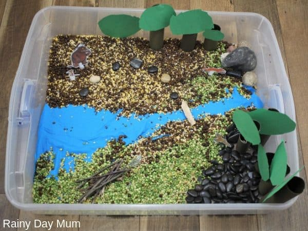 Set up of a Gruffalo Sensory Bin to use with toddlers and preschoolers