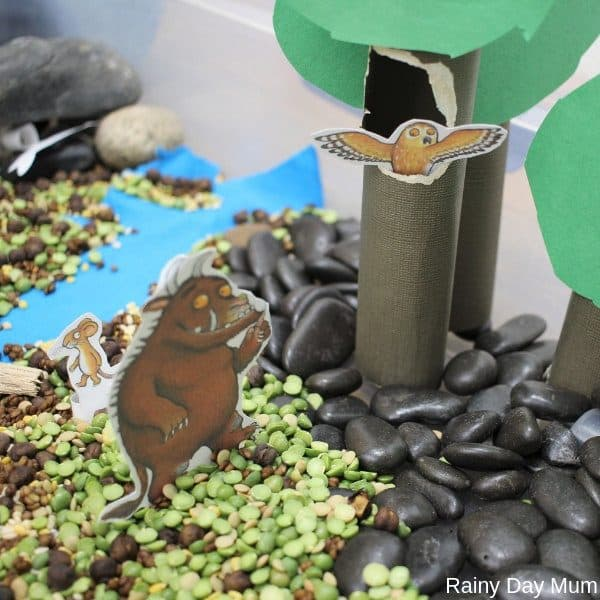 The Gruffalo in a themed sensory tray for toddlers and preschoolers