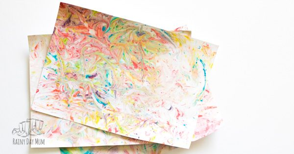 Marbled paper created by toddlers and preschoolers using shaving foam