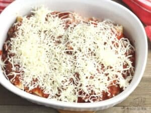 baking dish with stuffed cannelloni pasta in ready to go in the oven